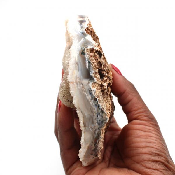 Cristais de quartzo em ágata polida