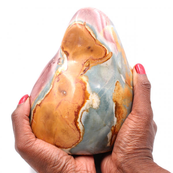 Jaspe estampado, pedra decorativa, 2 quilos, rosa laranja azul