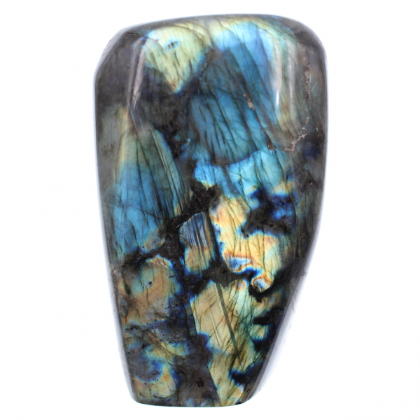 Pedra ornamental de labradorita azul amarela