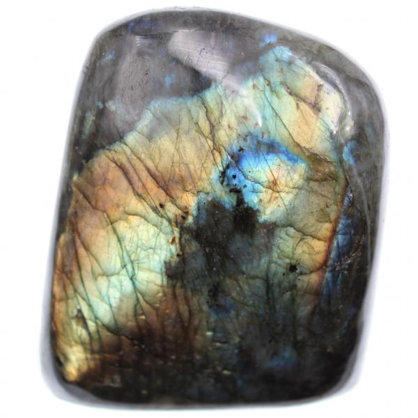 Pedra de labradorita amarelo-laranja